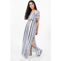Maternity  Off The Shoulder Stripe Maxi Dress