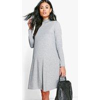 Harriet High Neck Long Sleeve Swing Dress - grey