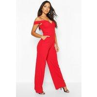 Womens Sweetheart Strappy Cold Shoulder Jumpsuit - red - 12, Red