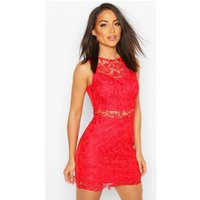 Womens Crochet Mini Dress - Red - 14, Red