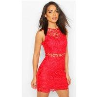 Womens Crochet Mini Dress - Red - 14, Red
