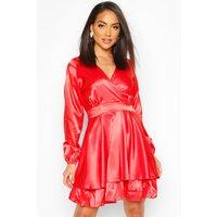 Satin Frill Skater Dress - Red - 10, Red