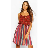 Womens Woven Strappy Aztec Print Sundress - red - S, Red