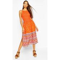 Womens Woven Shirred Strappy Border Print Sundress - orange - L, Orange