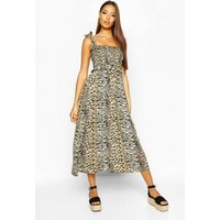 Womens Woven Leopard Print Shirred Sundress - cream - XS, Cream