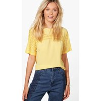 Lace Trim Top - yellow