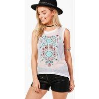 Aztec Print Vest - white