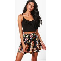 Floral Mini Skirt - black