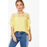 Lace Panel Crepe Top - yellow