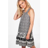 Border Print Shift Dress - multi