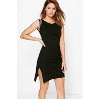 Diamonte Sleeveless Shift Dress - black