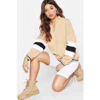 Womens Colour Block Sleeve Zip Front Oversized Sweat - beige - M, Beige