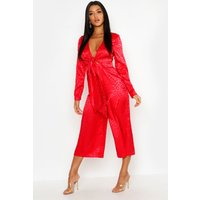 Image of Womens Leopard Satin Jacquard Knot Front Jumpsuit - red - 10, Red