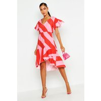 Womens Woven Stripe Midi Dress - red - 6, Red