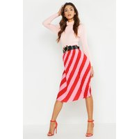 Womens Woven Stripe Pleated Skirt - Pink - 8, Pink