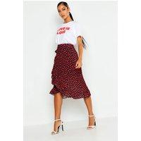 Womens Woven Heart Print Ruffle Midi Skirt - Black - 6, Black
