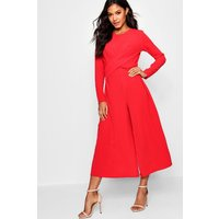 Womens Knot Front Culotte Jumpsuit - red - 8, Red
