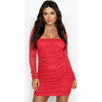 Womens Square Neck Ruched Mesh Bodycon Dress - Red - 12, Red