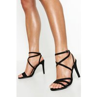 Womens Extra Wide Fit Strappy Heel Sandals - black - 7, Black