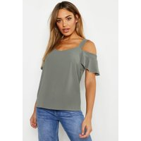 Womens Woven Cold Shoulder Cami - green - 6, Green