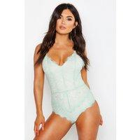 Womens Eyelash Lace Bodysuit - green - XS, Green
