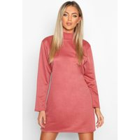 Womens Funnel Neck Long Sleeve Sweatshirt Dress - pink - 10, Pink