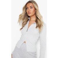 Womens roll/polo neck Rib Half Zip Top - grey - 16, Grey