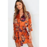 Womens Floral Print Luxe Shirt Dress - Brown - 10, Brown