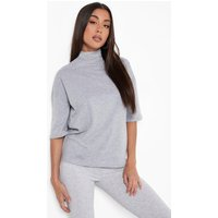 Womens Basic Oversized High Neck 3/4 Sleeve T-Shirt - grey - 8, Grey