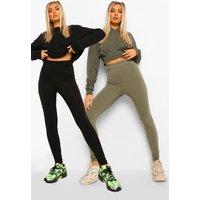 Womens 2 Pack Basic Highwaist Legging - green - 6, Green