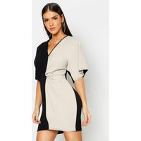 Image of Womens Colour Block Knot Front Bodycon Dress - black - 8, Black
