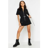Womens Utility Safety Buckle Cargo Playsuit - black - 12, Black