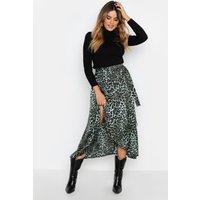Womens Satin Green Leopard Wrap Midaxi Skirt - 6, Green