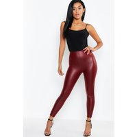 Womens Matte Leather Look Leggings - Red - 10, Red