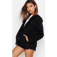 Womens Oversized Hooded Denim Jacket - black - 6, Black