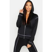 Womens Fit Contrast Piping Sports Jacket - white - 6, White