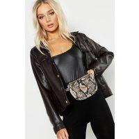 Womens Faux Snake Belt Bag - beige - One Size, Beige