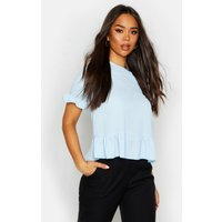 Womens Woven Button Back Shell Top - blue - 12, Blue