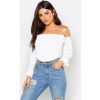 Womens Off The Shoulder Woven Bodysuit - white - 6, White