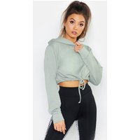 Womens Fit Cropped Hoodie - green - 8, Green