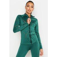 Womens Fit Laser Cut Zip Up Gym Jacket - green - 10, Green