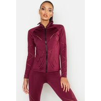 Womens Fit Laser Cut Zip Up Gym Jacket - red - 8, Red