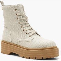 Womens Lace Up Hiker Boots - Beige - 6, Beige