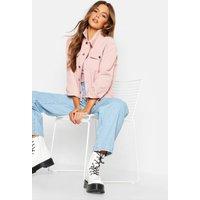 Womens Mixed Cord Denim Jacket - Pink - 6, Pink