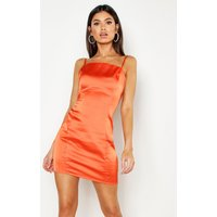 Womens Satin Square Neck Bodycon Dress - orange - 14, Orange