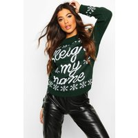 Womens Sleigh My Name Snowflake Slogan Christmas Jumper - green - M/L, Green