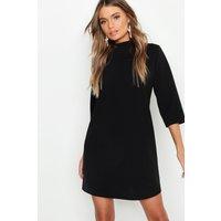 Womens High Neck 3/4 Sleeve Shift Dress - Black - 12, Black