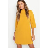 Womens High Neck 3/4 Sleeve Shift Dress - yellow - 10, Yellow