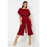 Womens Slash Neck Tie Waist Culotte Jumpsuit - red - 14, Red