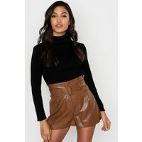 Womens Leather Look Belted Shorts - brown - 14, Brown